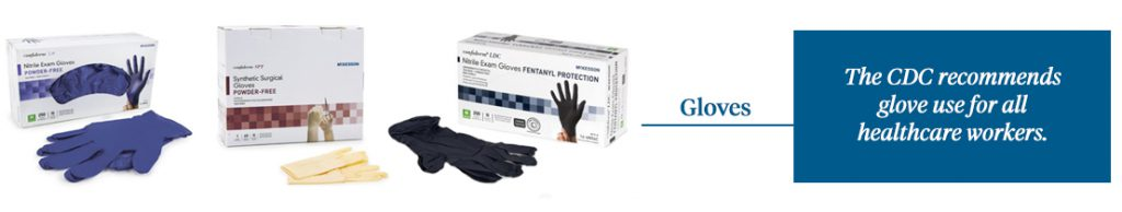 The CDC recommends glove use for all healthcare workers.